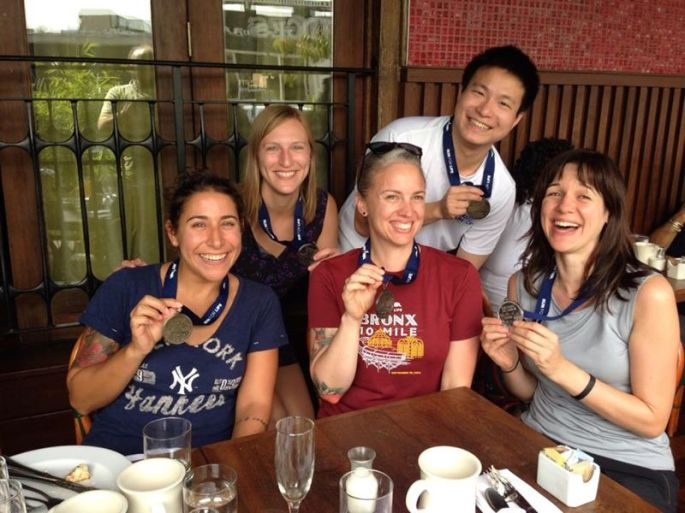 Happy runners after the Bronx 10 mile (and an all you can eat buffet brunch!)