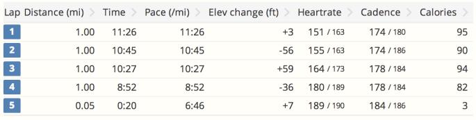 Race stats. Splits differ because of Garmin drift.
